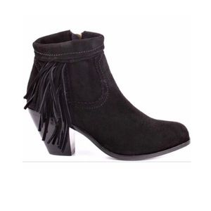Sam Edelman Louie Suede Fringe Ankle Boot Zip Up 8